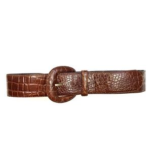 vintage 90s brown faux crocodile print belt
